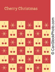cherry christmas post card chess - Vector greeting card with...
