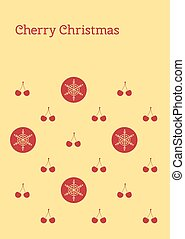 cherry christmas post card - Vector greeting card with text...