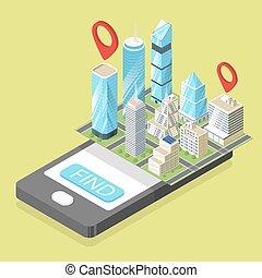 Vector isometric illustration of mobile navigation.