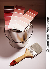 home improvement - conceptual photo with paint and brush,...