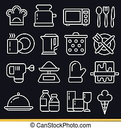 Vector lines icons pack collection kitchen