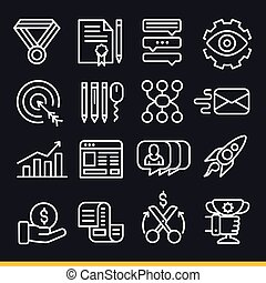 Vector lines icons pack collection set trend