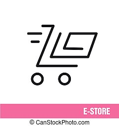 Vector Lines icon basket shop online shopping
