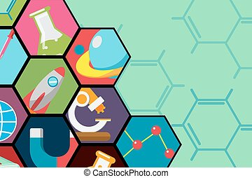 Hexagon Science Flat Icon Background Vector
