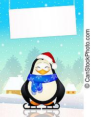 penguin on ice skates - illustration of penguin on ice...