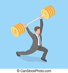 Vector isometric concept of businessman holding barbell.