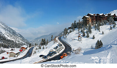 Les Arc - Alpine Skiing Resort - View on an alpine skiing...
