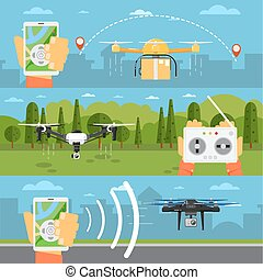 Drone technology concepts with flying robots - Drone...