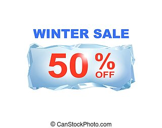 Icy winter sale banner to the specified percentage on a...