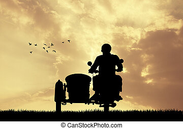 man on sidecar at sunset - illustration of man on sidecar at...