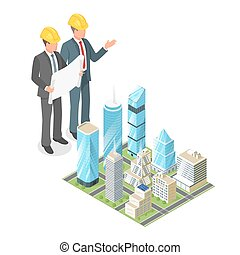 Vector 3d isometric concept of businessman or engeneer in hard hat