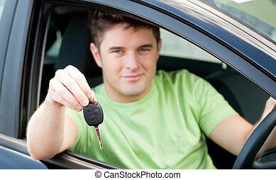 Schlüssel, Auto, Besitz, glücklich, kaukasier, Mann