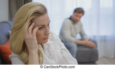 Couple has conflict at home - Attractive caucasian couple...