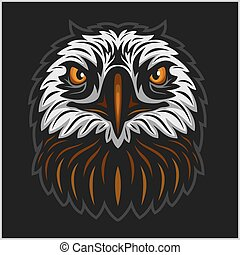 Eagle head mascot isolated on black background