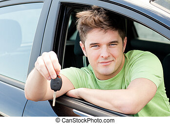 Animated caucasian man holding a car key