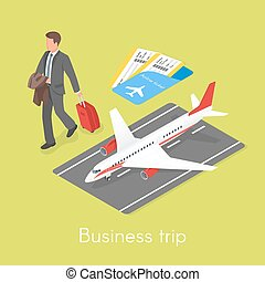 Isometric 3d vector concept of business trip.