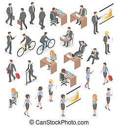 Isometric vector set of business people. - Isometric vector...
