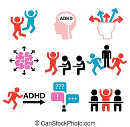 ADHD - Attention deficit hyperactivity disorder vector icons...