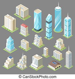 Vector 3d isometric illustration of buildings, skyscrapers.