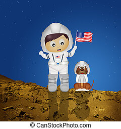 baby astronaut with puppy to Mars - illustration of baby...