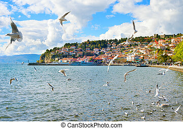 Ohrid skyline, Macedonia - View of Ohrid quay in the...