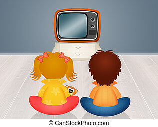 children in front the television - illustration of children...