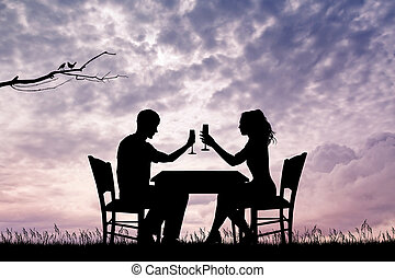 romantic dinner for two - illustration of romantic dinner...