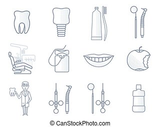 Vector line dental icon. Dental clinic, tooth, toothpaste,...