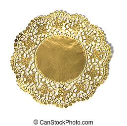 gold antique frame on white background