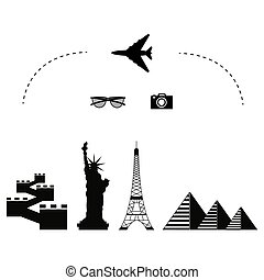 trawel airplane icon famous places and monuments around the...