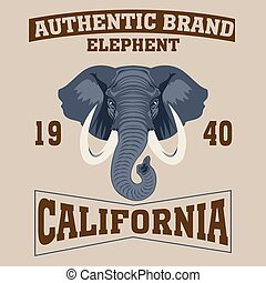 los angeles - Los Angeles typography fashion elephant,...