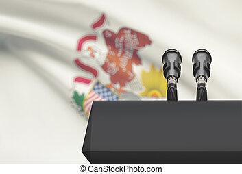 microfones, EUA, estado, -, dois, Illinois, bandeira,...