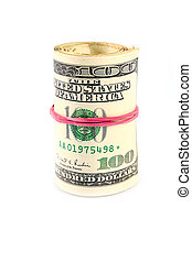 bundle of paper dollars - rolled into a tube bundle of paper...