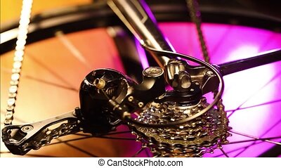 bicycle gears mechanism on the rear wheel - Close up of...