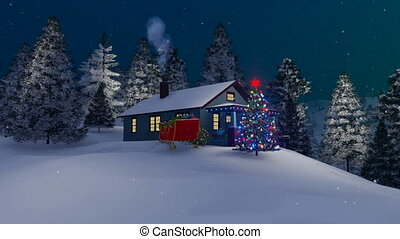 House and decorated Christmas tree at night 4K - Dreamlike...