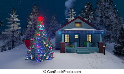 House and decorated outdoor Christmas tree 4K - Cozy rural...