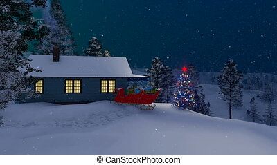 Santa Claus house decorated for Christmas at night - House...