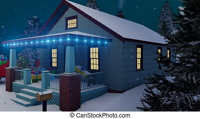 Santas house decorated for Christmas at night 4K - Dreamlike...