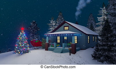 Cozy rustic house decorated for Christmas night -...