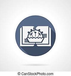 Blue round vector icon for sewing blog - White silhouette...