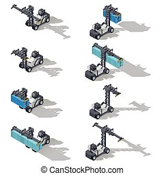 Full container port loader isometric icon set - Full...