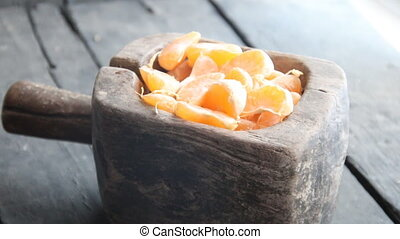 Delicious Mandarin citrus fruit slices, healthy eating...