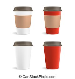 Red and White Paper Coffee Cup Set. Vector illustration