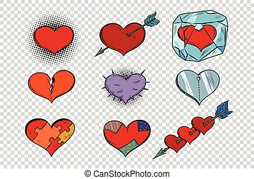 set of Valentine hearts on a transparent background. Pop art...