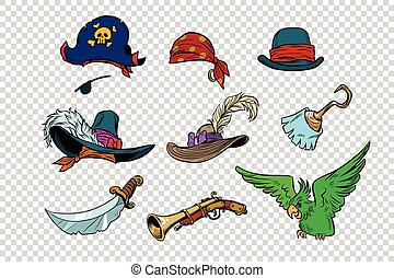 pirate set of knives and hats. Pop art retro illustration....