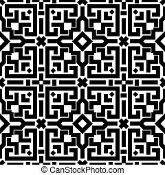 Abstract embroidery geometric seamless pattern - Abstract...