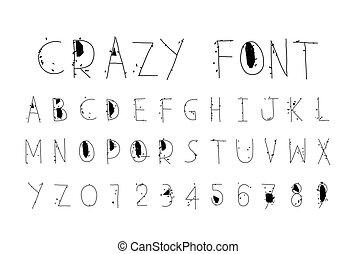 Careless funny letters, crazy font - Careless decorative...