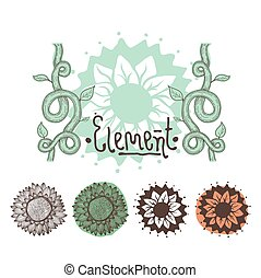Set of color floral elements. Flowers, branches, decor -...