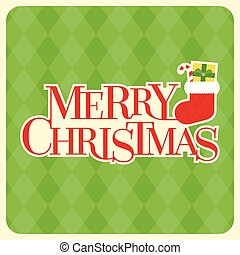 Merry Christmas typographic design poster with sock and present box, candy cane on green argyle pattern, retro style, flat design vector