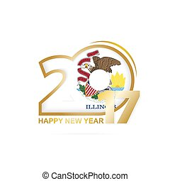 Year 2017 with Illinois state Flag pattern. Happy New Year Design on white background.